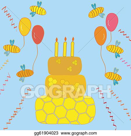 Clipart Of Honey Cake : Drawings - Happy birthday background with honey cake and ...
