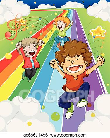 Children at the colorful road stock art illustrations gg65671456