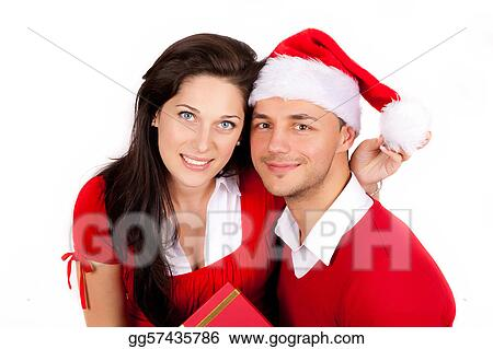happy couple in red christmas clothes
