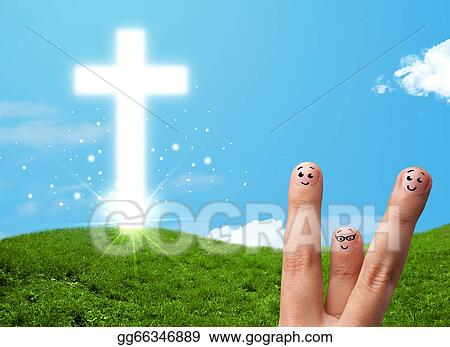 Smiley Faces On Hand With Christian Religion Cross Stock Image