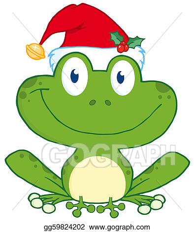 Stock Illustration - Happy Frog With Santa's Hat Cartoon Character ...