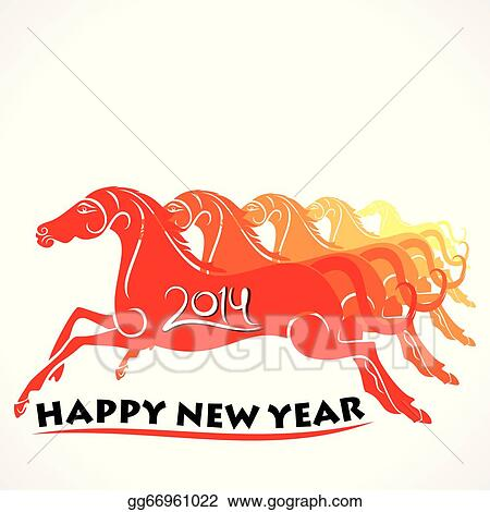 Happy new year 2014 runnung horse