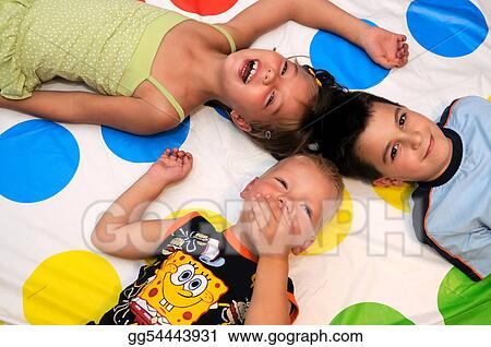 Happy three kids playing together