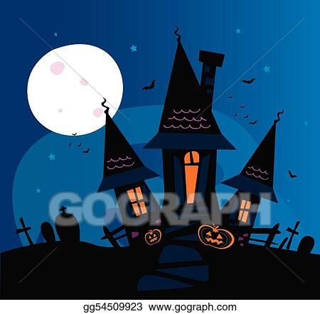 Haunted Hayride Clip Art Haunted scary house - royalty