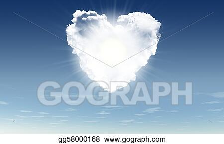 Heart from clouds witn sunbeam
