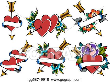 Clip Art  Heart Tattoo Stock Illustration Gg58749918 GoGraph