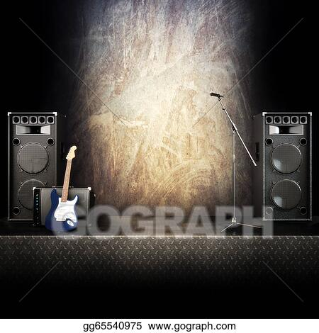 Stock Illustrations - Heavy metal music stage or singing background ...