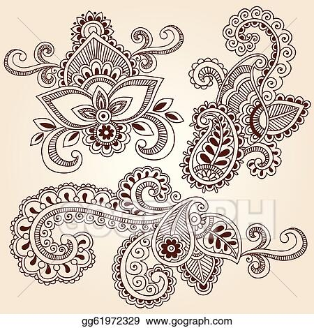 Eps Vector Henna Doodles Mehndi Tattoo Designs Stock