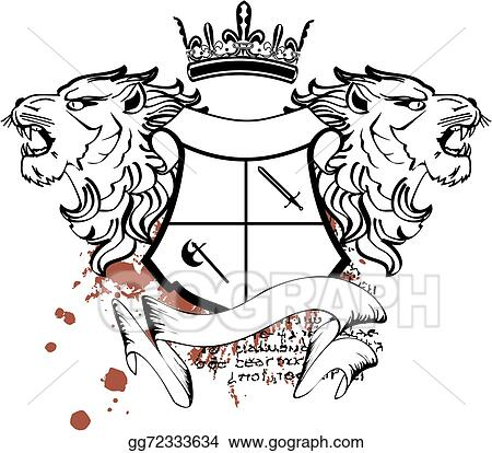 Vector Clipart - Heraldic lion head crest tattoo7. Vector ...