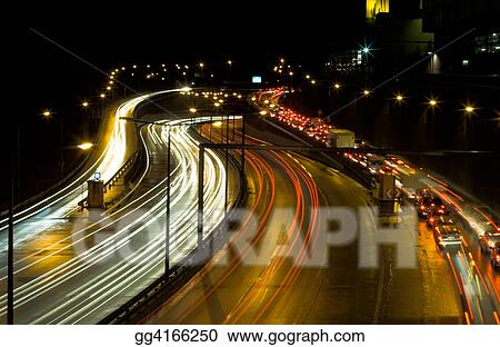 Highway traffic at night