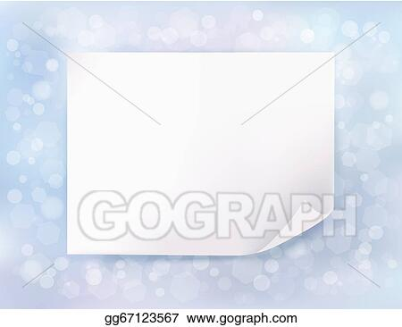 Holiday blue background with Christmas sheet of paper. Vector illustration
