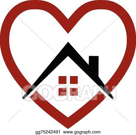 Vector Clipart House And Heart Vector Logo Vector