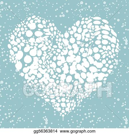 Vector Clipart - I like winter! snowing heart shape for your ...