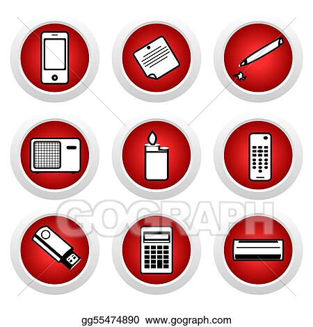 Drawing - icon set of home appliances. vector. clipart drawing