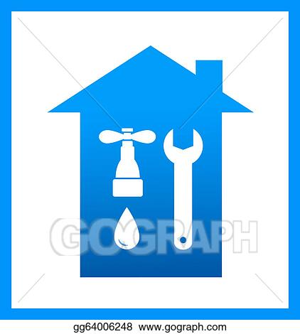 Stock Illustration - Icon with plumbing faucet. Clipart Drawing