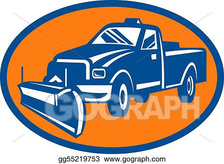 icon with Snow plow pick-up truck inside oval