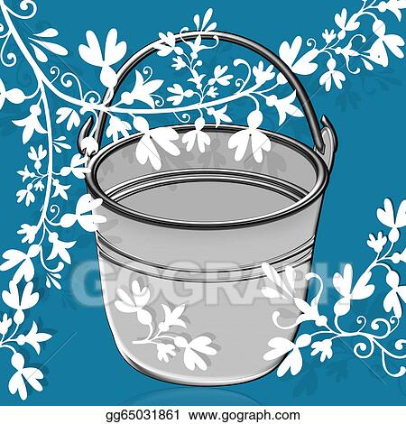stock illustration illustration bucket and flowers