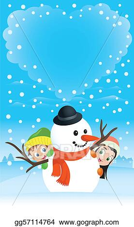 Illustration of a boy and girl hiding behind a snowman with heart-shaped clouds on the background. Great spacing for text, perfect for any Christmas or Valentine needs.