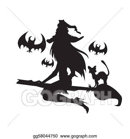  Illustration of a witch with Halloween elements. One color. 