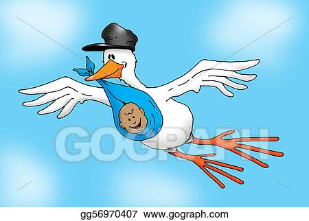 Stock Illustration Image Of A Stork Carrying A Baby