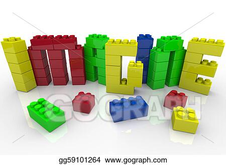 Imagine Word in Toy Plastic Blocks Idea Creativity