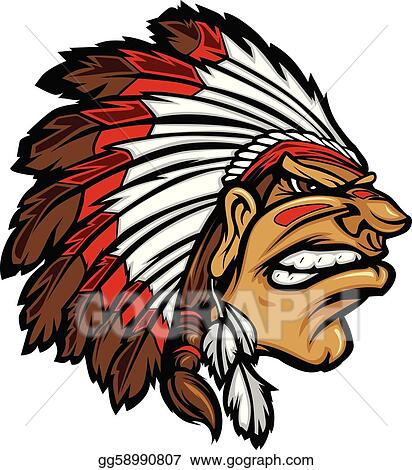Indian Chief Clip Art - Royalty Free - GoGraph