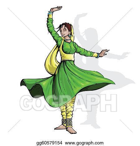 ... indian classical dancer performing kathak. Clipart Drawing gg60579154 Beautiful Kathak Dance Costume