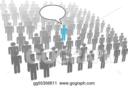 Individual person speech from crowd social group company