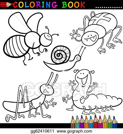 Vector Art - Insects and bugs for coloring book or page. Clipart ...