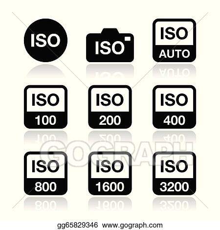 Vector Clipart - Iso - camera film speed icons. Vector ...