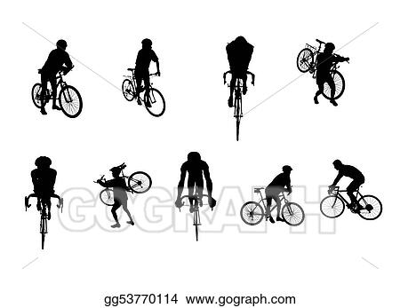 isolated cycling silhouettes