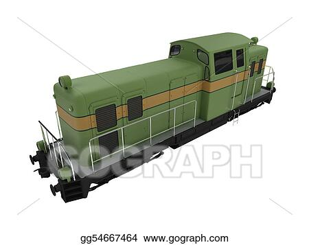 isolated diesel green train