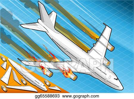 Clip Art - Isometric airplane falling down with engines on ...