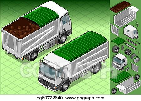 isometric container truck