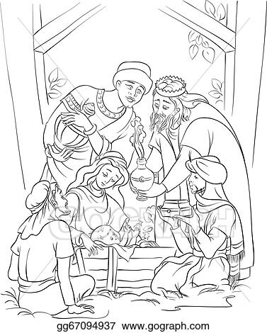 Vector Outlined Of A Nativity Scene Jesus Mary Joseph And The Three Kings Coloring Page Also Available Colored