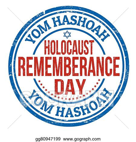 Vector Clipart - Jewish yom hashoah remembrance day stamp. Vector ...