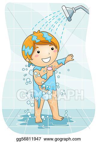 stock illustration kid in the shower clipart illustrations gg56811947 gograph. Black Bedroom Furniture Sets. Home Design Ideas