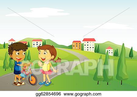 Vector Illustration - Kids and road. Stock Clip Art gg62854696 ...