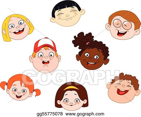 Vector Clipart - Kids faces. Vector Illustration gg55775078 - GoGraph