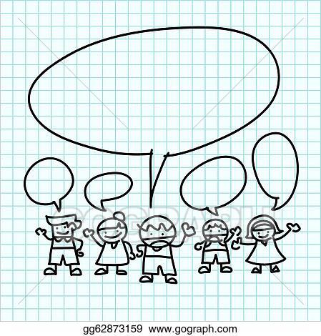 Vector Illustration - Kids hand draw cartoon on graph paper. Stock ...