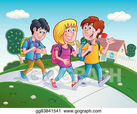 Clip Art Vector - Kids walking home from school. Stock EPS ...