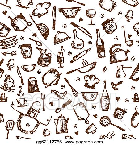Drawing - Kitchen utensils sketch, seamless pattern. Clipart