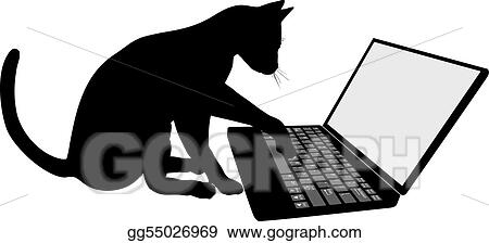 Stock Illustration - Kitty cat on the keyboard of laptop computer logs ...
