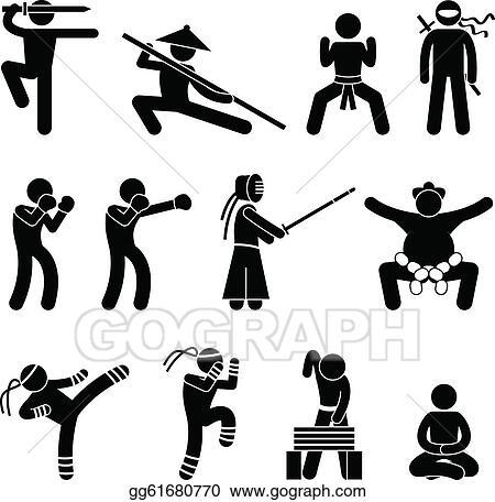 EPS Vector - Kung fu martial arts self defense. Stock Clipart ...