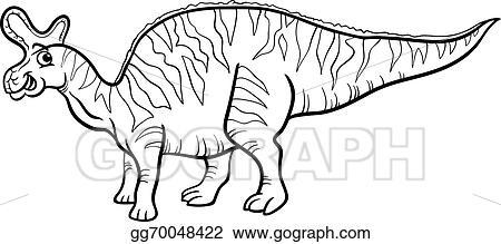 vector illustration black and white cartoon illustration of lambeosaurus prehistoric dinosaur for coloring book stock clip art gg70048422