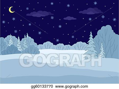 Vector Art - Landscape, winter forest night. Clipart Drawing ...