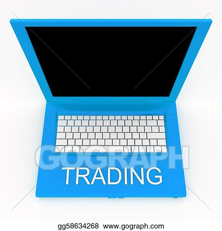 Laptop computer with word trading on it
