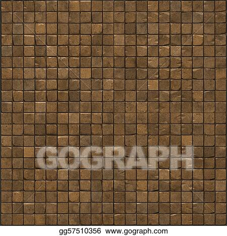 large 3d render of an orange smooth stone mosaic wall floor