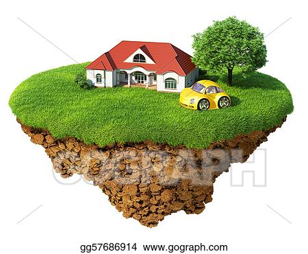 Life of a dream. Lawn with house, tree and sports car. Fancy island in the air isolated. Detailed ground in the base. Concept of success and happiness, idyllic ecological lifestyle.