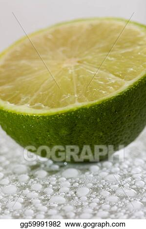 Lime with water drops